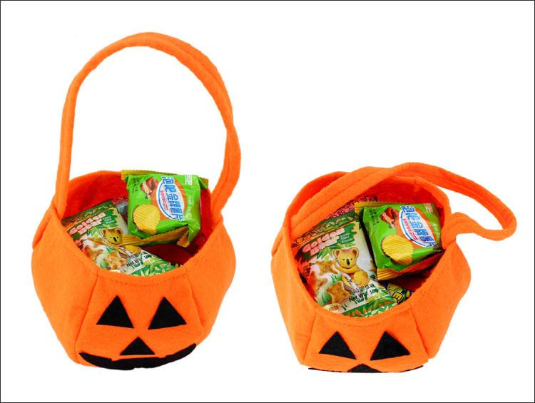 Halloween Pumpkin Candy Bag Trick or Treat Cute Smile Basket Face Children Gift Handbags Pouch Tote Bag Non-woven Pail Props Decoration Toy