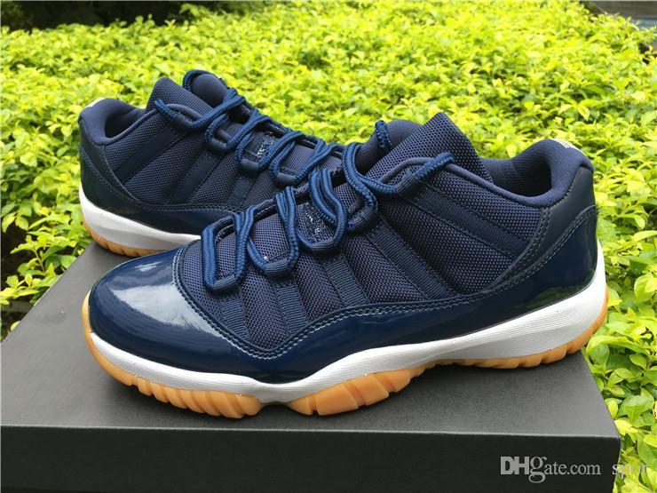 659de74b4d0 Cheap Wholesale 11 Blue Navy Low Midnight Navy Gum Mens Basketball Shoes  Retro High Quality XI Sports Shoes 11s Discount Shoes Shoe Shops From Spor,  ...