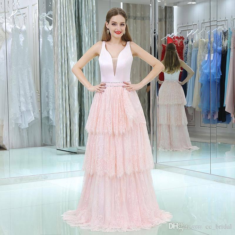 Charming Pink Lace Prom Dresses 2018 Sexy A Line Floor Length Long