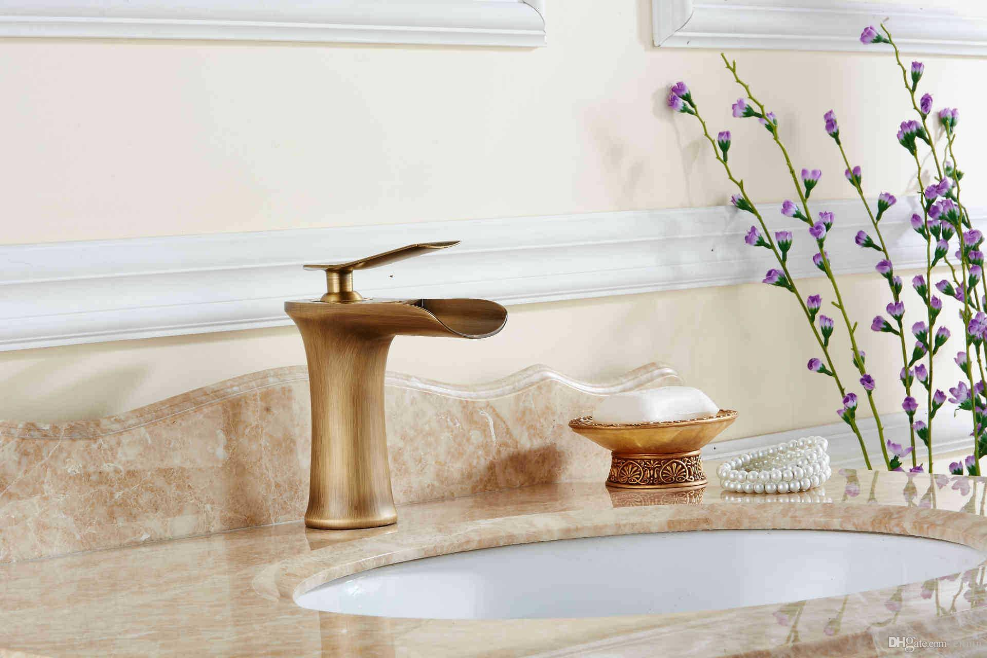 Copper basin faucet Kitchen & bathroom faucet Single hole of cold faucet Waterfall tap Worlde style