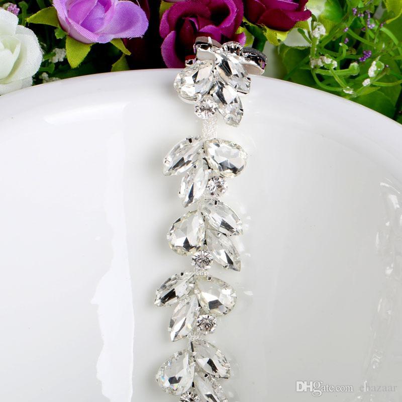 1Yard Crystal Rhinestone Cup Silver Chain Bridal Wedding Dress Decoration Trim Applique Sew on Garment Shoes Bags