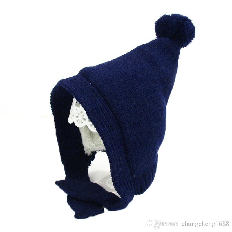 dc6509ad551 2019 Unisex Child Beanies Baby Pointed Knit Bobbles Earflap Ear Hats Kid  Winter Warm Add Velvet Earmuffs Caps MZ5350 From Changcheng1688
