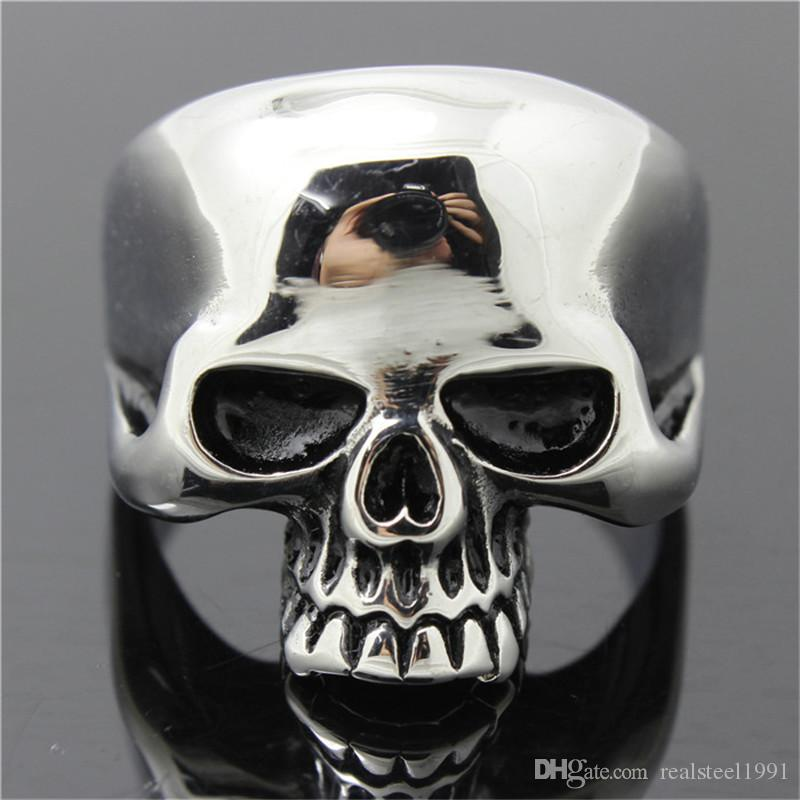 5pcs/lot size 7-15 Polishing Ghost Slull Cool Ring 316L Stainless Steel Fashion Jewelry Men Boy Biker Persona Design Skull Ring