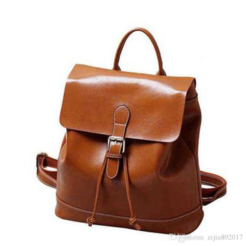 433ad9839a Genuine Leather Backpacks Ladies Casual Vintage Cowhide Travel Backpack Oil  Wax Leather Women And Girl Bags J183 Mens Messenger Bags Messenger Bags For  ...