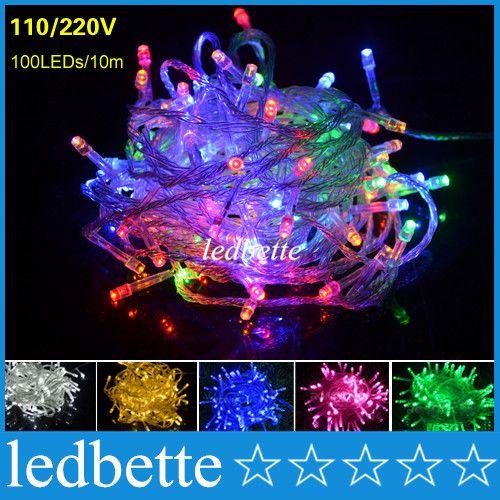 10M 100 LED RGB String Lights Strip Lamp AC 110V 220V Outdoor Lighting  Fairy Christmas Wedding Decoration Garden LED Light Wedding Light Christmas Light  LED ...