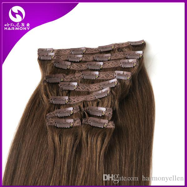 120g 100% Brazilian Clip in Hair Extensions Clip in Straight Hair Full Head Set Hair #