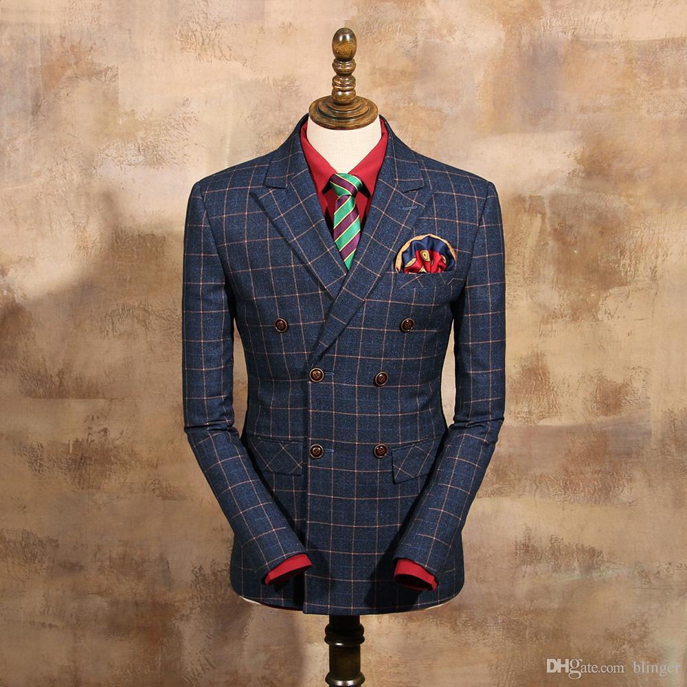Großhandel Mens Fashion Herbst Und Winter Schlank Blau Plaid ...