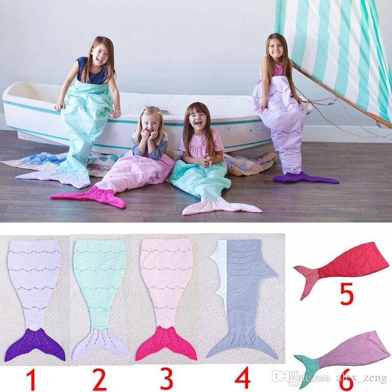 Kids Mermaid Tail embroidered Sleeping Bags Mermaid Tail Shark Blankets Cocoon Mattress Sofa Bedroom Blankets Camping Travel Blankets