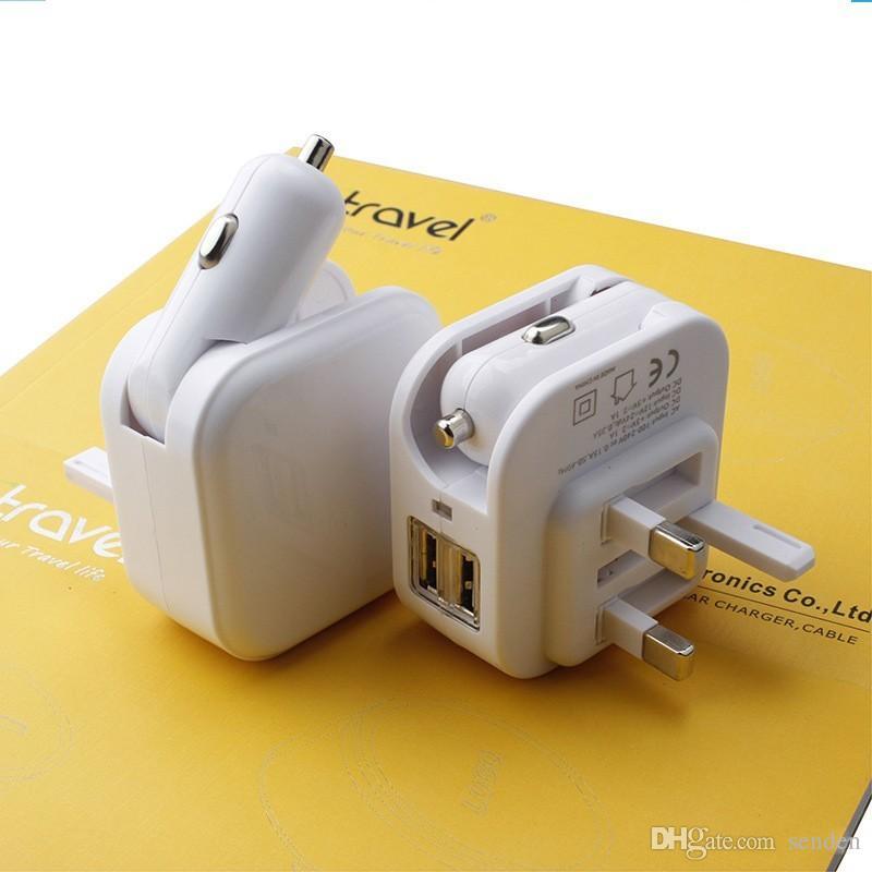 Atacado Universal 2 em 1 Dupla Porta USB DC 5 V 2.1A Dobrável Carregador de Carro Adaptador De Alimentação para casa / Parede Plug duplo USB cigarro do carro carga dobrável