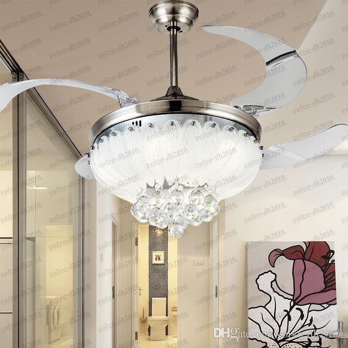 유럽의 간단한 디자인 42 인치 천장 팬 라이트 블레이드 숨겨진 팬 크리스탈 펜던트 천장 팬 라이트 LLFA11