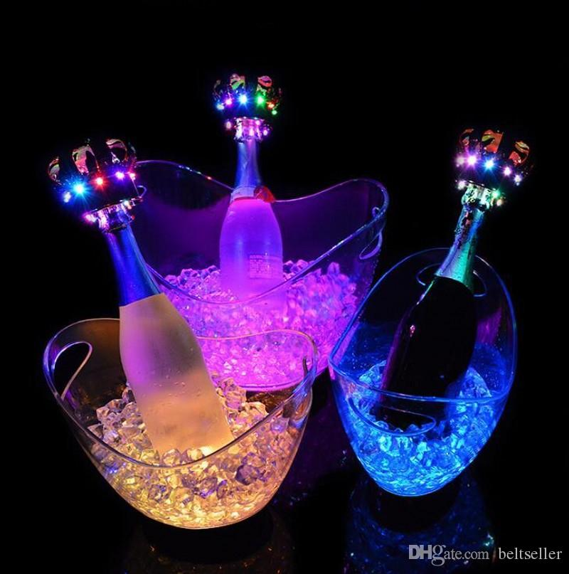 New fashion 4L Rechargeable luminous LED Light Ice Bucket Champagne Wine Beer Buckets Tub For Bar Club Party decorations