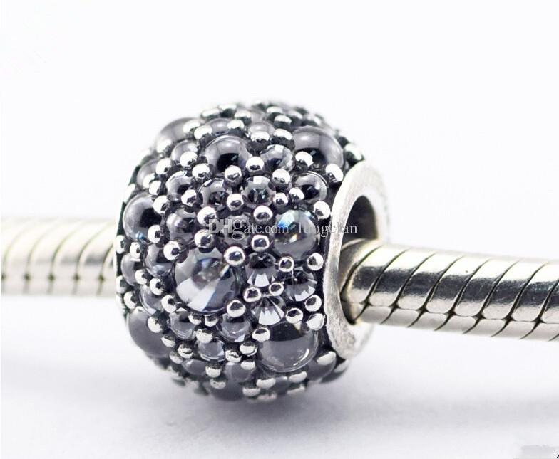 Pandora gotas brillantes cuentas de plata con Clear CZ encantos de plata de ley 925 cuentas sueltas para hilo pulsera fashon joyería auténtica