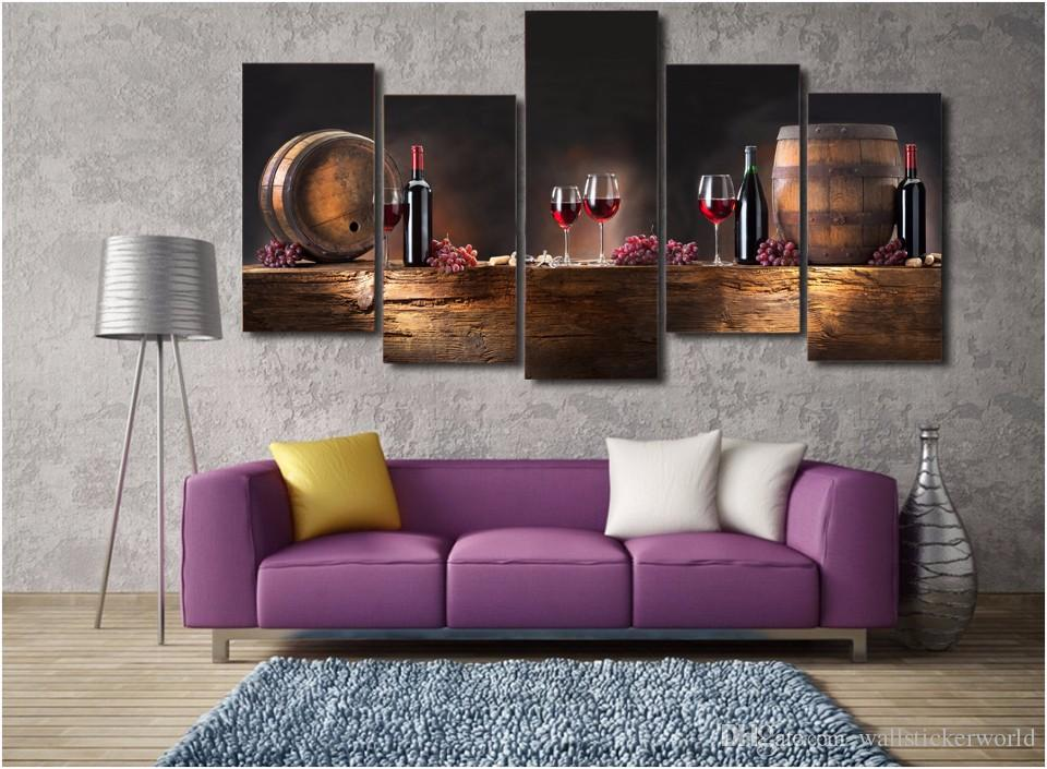 Framed Printed barrels bunches of grapes Painting Canvas Print room decor print poster picture canvas /ny-4375