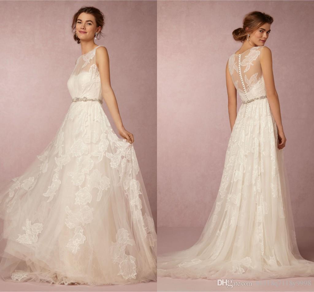 Discount Romantic Bohemian Wedding Dresses Bhldn Bateau Sleeveless A ...
