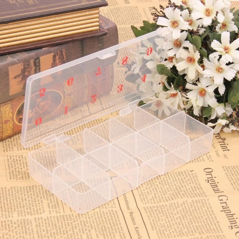 Professionale 1 Pz 10 Griglie Nail Art Box Vuoto Divided Case Nail Tips Strass Beads Gems Storage Box Case Clear Plastic
