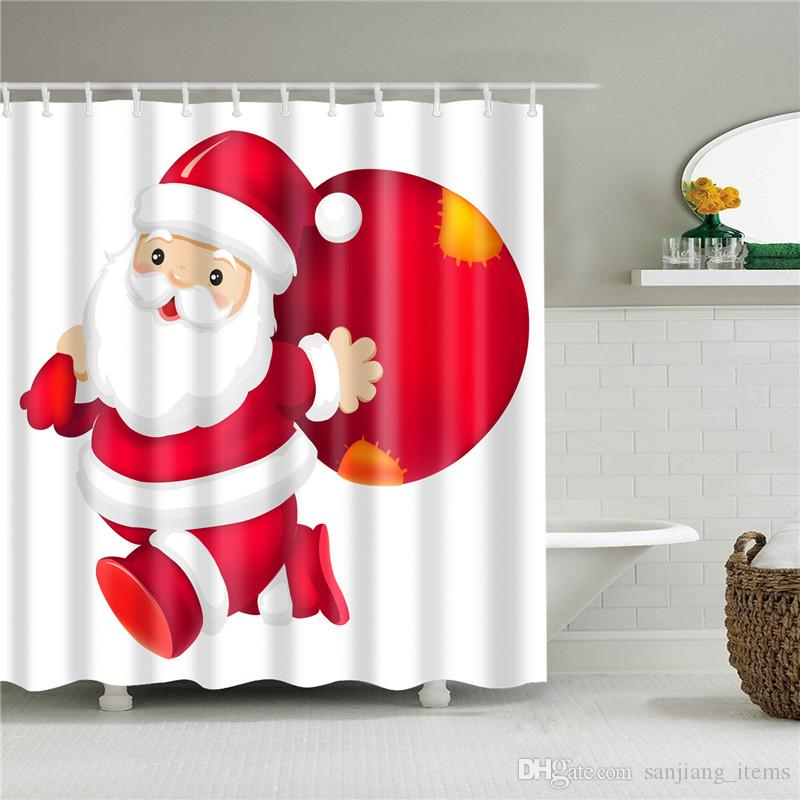 2019 Christmas Shower Curtains Squares 72 Design 180180cm Polyester Fibre Waterproof Printing Cartoon Bath Curtain NEW Arrival From Sanjiang Items