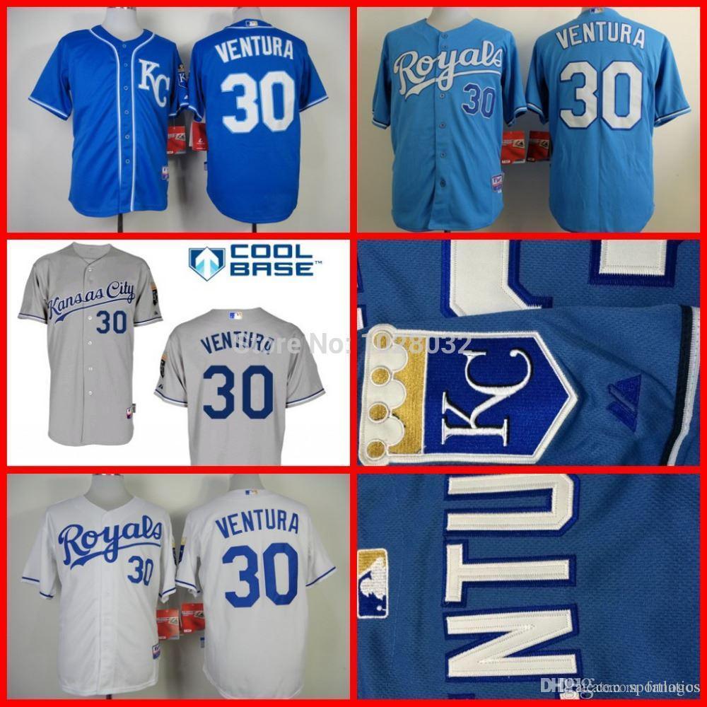 143dba61f65 ... 2017 A+++ Quality Kansas Royals 30 Yordano Ventura Jersey WhiteBlueGray  Authentic Baseball Jerseys