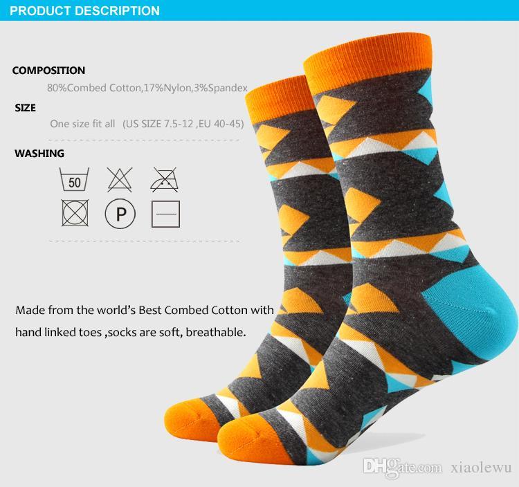 2016 heren gekamd katoen merk mannen sokken, kleurrijke geruite sokken, verzending gratis, US Size 7.5-12 328