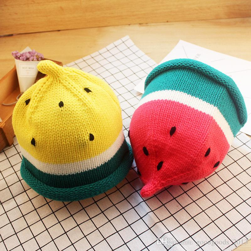 Hats Wholesale Ins New watermelon baby Crochet Knit Hat Autumn Winter boys Girls Knitted Beanie Hat Hand Knitted Caps Toddler Beanies b1462