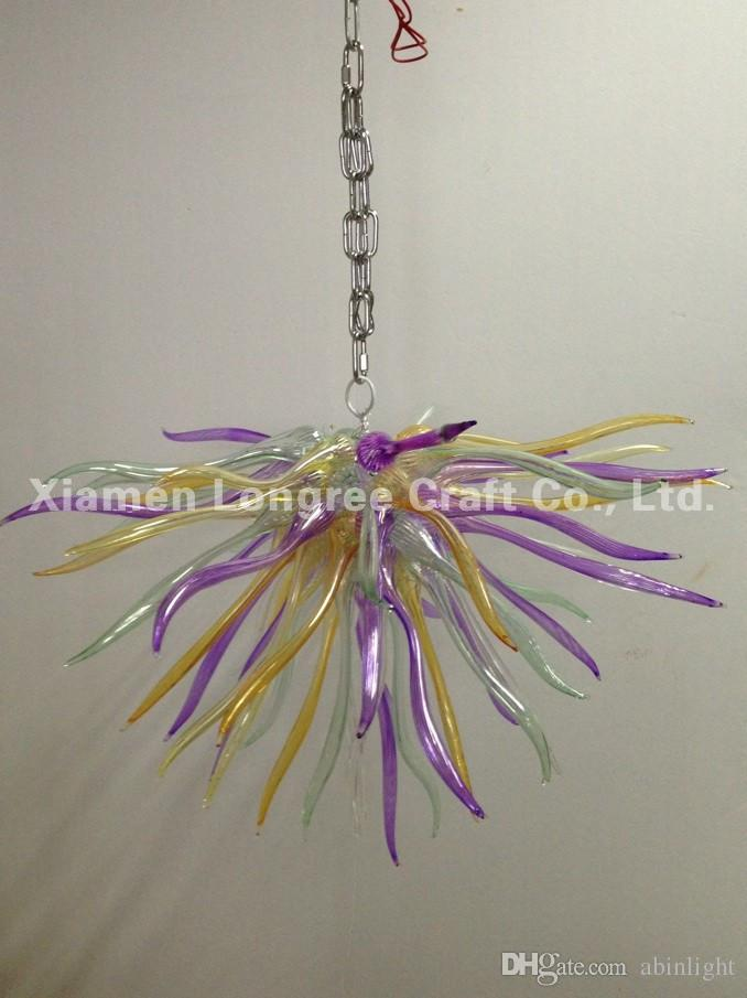 C86-Turkish Style Hand Blown Glass Long Chain Chandeliers Modern Crystal Murano Glass Decorative LED Pendant Lamps