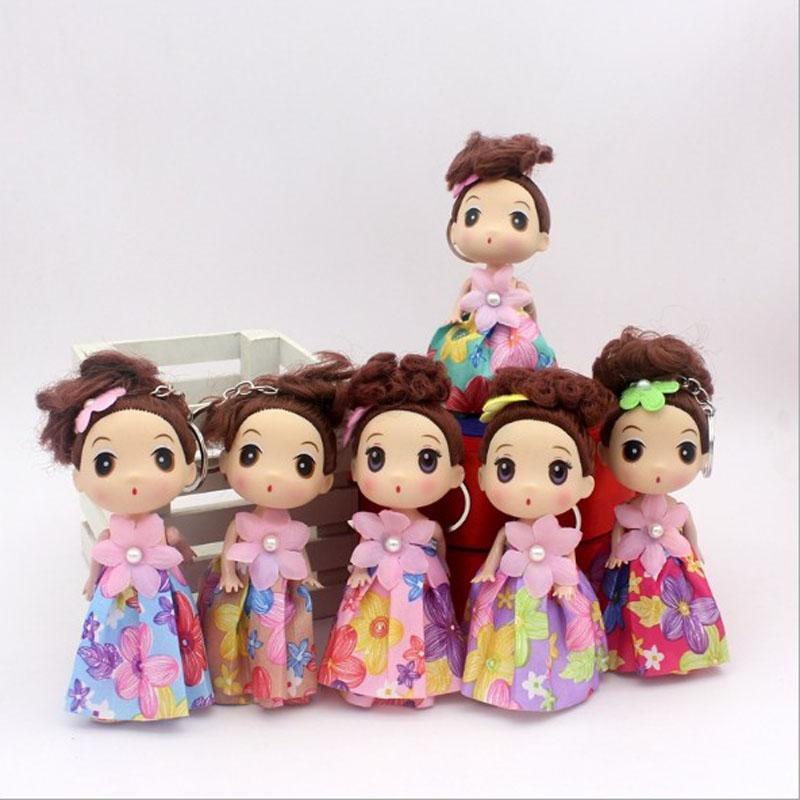 12cm New Lovely Dress Cloth Wave Point Confused Doll Car Key chains Female Pendant Vinyl Girl Wholesale