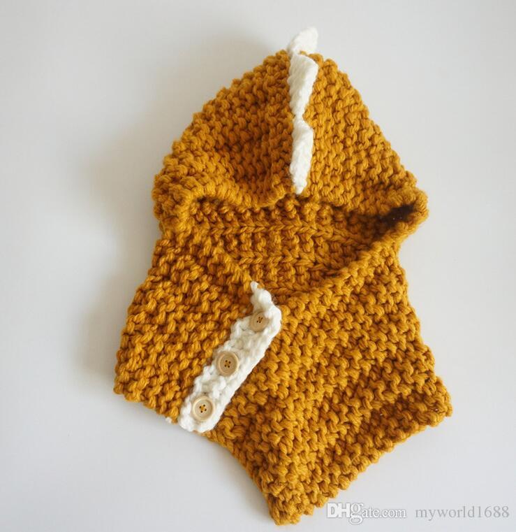 Lovely Children dinosaur winter windproof hats with scarf set for kids crochet Knitted soft warm cap Handmade baby winter beanies