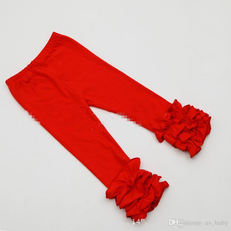 ragazze a velo Ruffle ghette del bambino di colore solido delicati volant pantaloni turchese rosa leggings Multi-Layer capris 6size