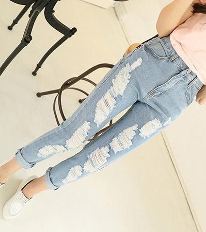 Женщины мир моды джинсы весна осень отверстие в целом промывают сфальсифицированы старинные брюки синий свободные hotsale S M L XL женщина