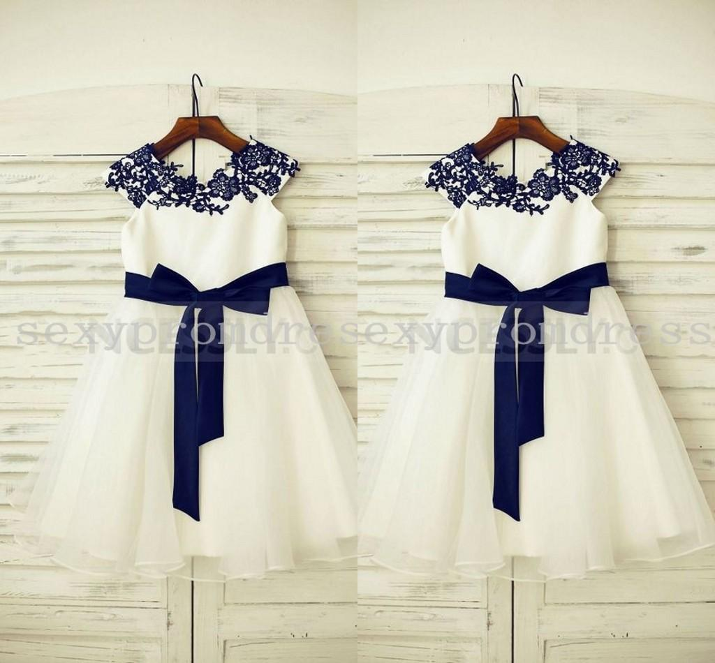 White Princess Navy Blue Lace Applique Flower Girl Dresses For