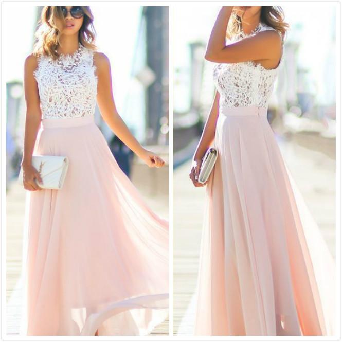 5147ea1c507e White Lace Pink Chiffon Evening Dresses Elegant 2016 Vintage Cheap Two  Toned Prom Dresses Formal Gown