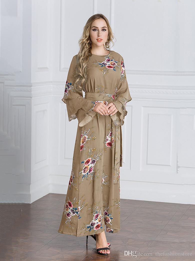 469e9ee128c6 2019 New Plus Size Women Floral Print Long Dress Muslim Women Long Sleeve Kaftan  Dress With Belt M 7XL From Thefashionstore