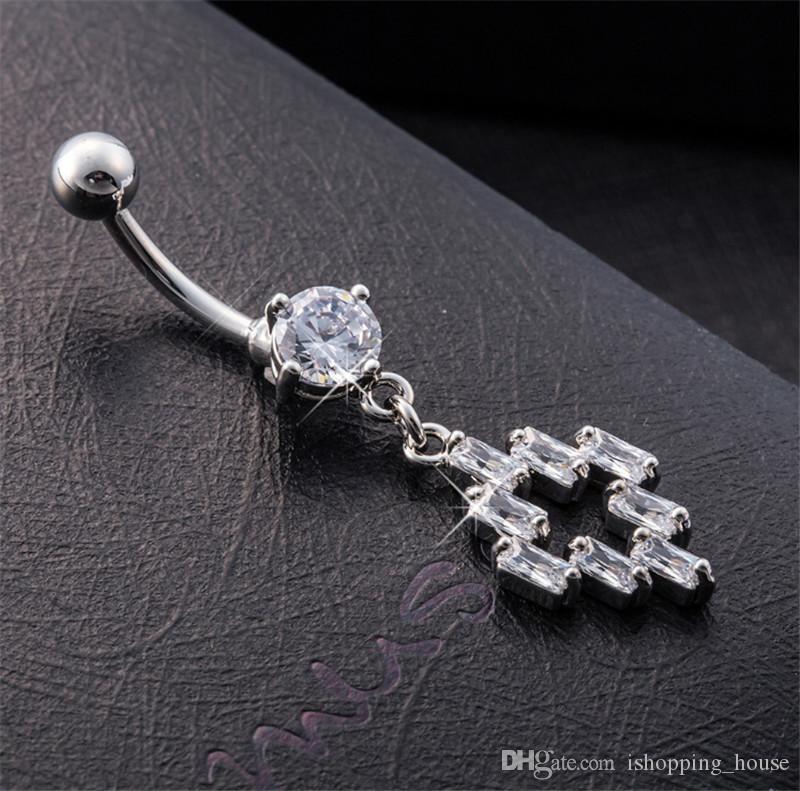 Die meiste mode heiße klare kristall edelstein bauchring knopf stange körper piercing chirurgische stahl navel ring für sexy mädchen bR-004