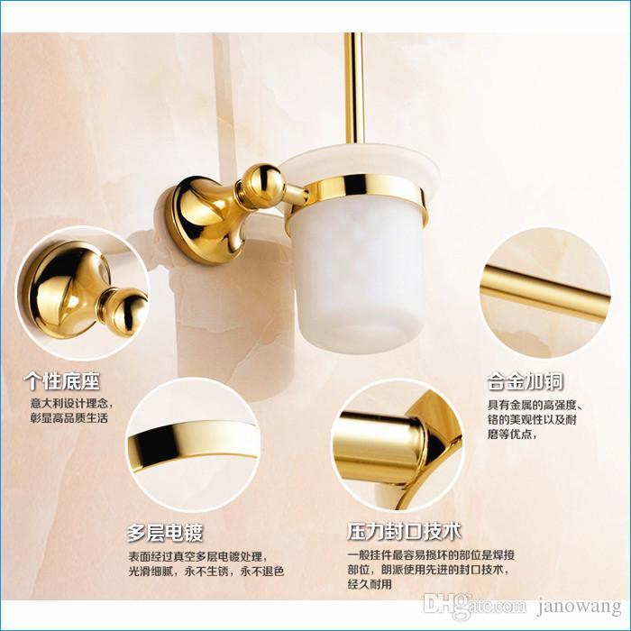 scopino a muro Titolari, set di spazzolini da toilette dorati, scopino tazza, spedizione gratuita J15474
