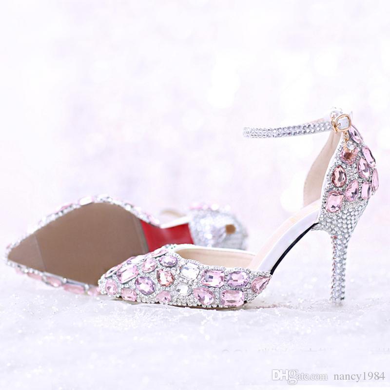 2019 wunderschöne rosa Strass Brautschuhe spitze dünne Ferse Hochzeit Schuhe Sommer Kristall Sandalen mit Knöchelriemen