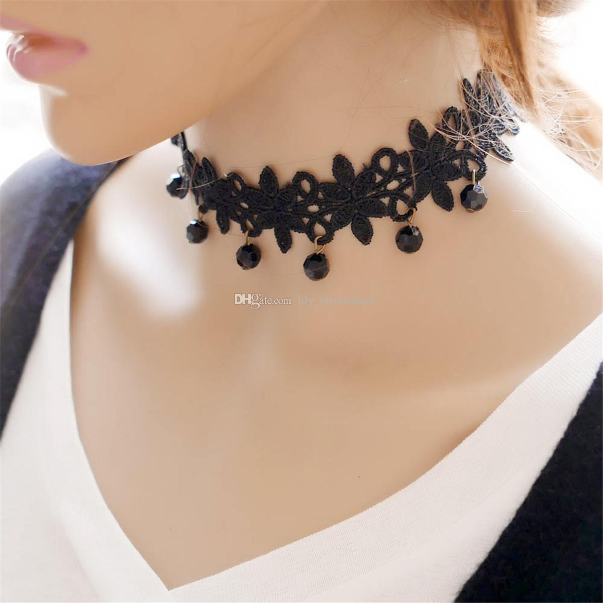 Black Retro Gothic Collar Lace Necklace Crystal Pendant Chock Jewelry For Women Pack of