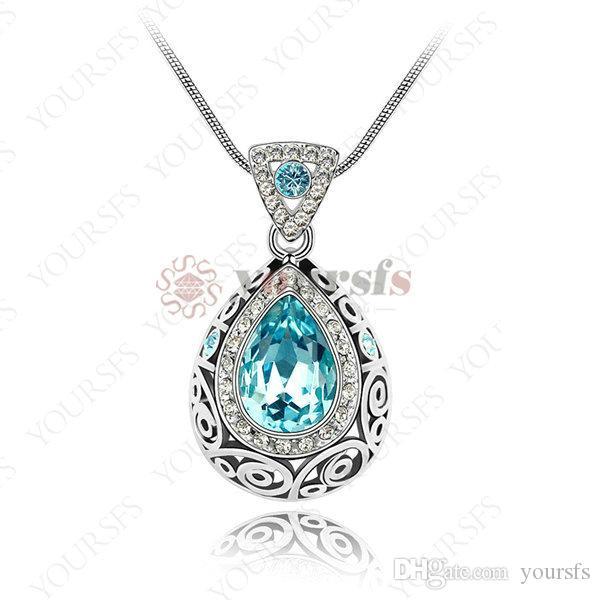 Yoursfs 18k branco banhado a ouro de cristal de cristal declaração pandent colar usar verde austríaco cristal de moda jóias
