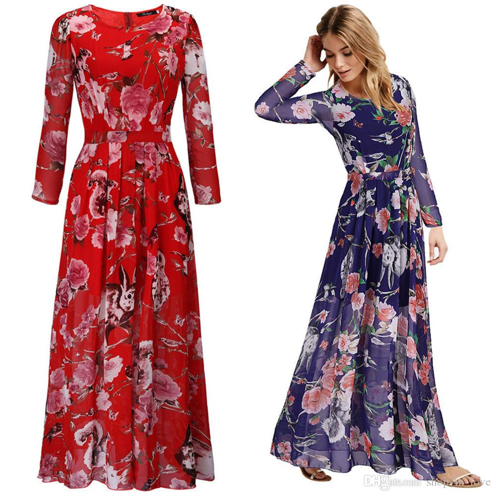 8594042718 Compre New Hot Boa Venda Mulheres Senhoras Verão Casual Moda Solto Flor  Impresso Longo Manga Chiffon Vestidos De Roupas 2224 De Shop in love