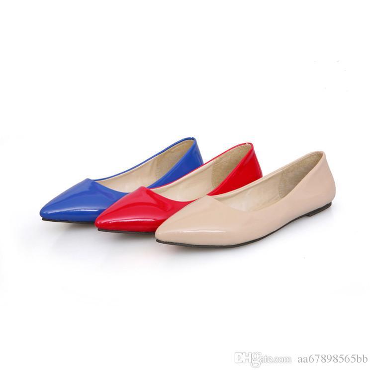 뜨거운 여성에 미끄러지 발레리나 봄 여름 가을 신발 가죽 컬러 아파트 신발