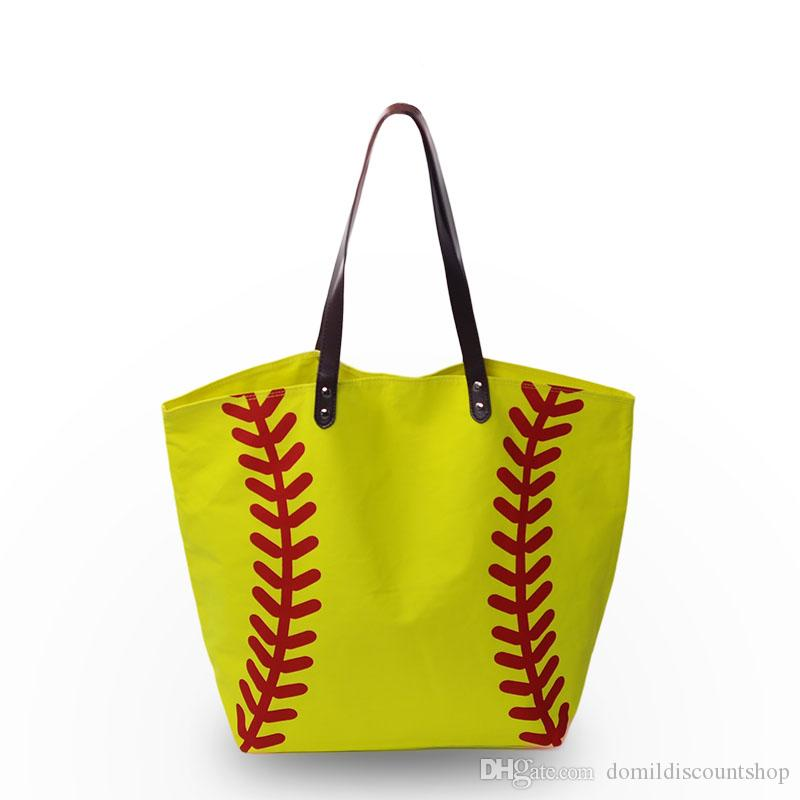 Canvas Material Women Handbag Baseball Softball Sport Tote Bag With Zipper  Pocket Inside PU Faux Leather Handle DOM103281 Jo Totes Discount Handbags  From ... d4f3d30b7e