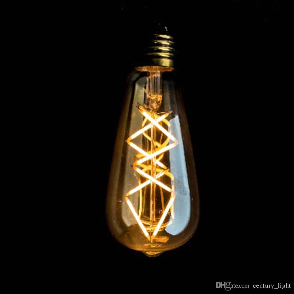 vintage led filament light bulb 8w edison st64 golden tint fish