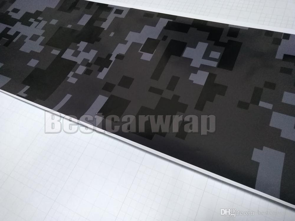 Negro gris oscuro gris urbano noche digital tigre camo vinilo envoltura de coche con burbuja de aire Pixel de camuflaje gratis etiqueta engomada de coche 1.52x30m / 5x98ft