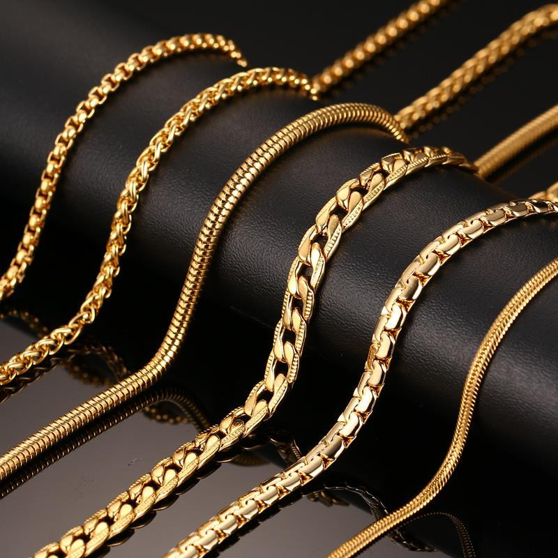 Fine Jewelry Mens 18K Gold over Stainless Steel 24 Inch Chain Necklace 5nxemZI