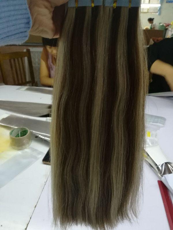 Nastro con doppia cuticola disegnata ELIBESS allineata in capelli umani 2.5g / pezzo capelli umani della trama della pelle di /