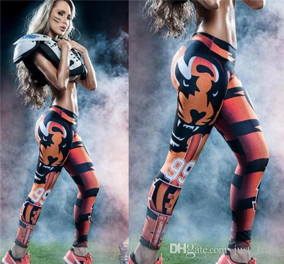 Impressão digital estampas modelos Europa crânio impressão yoga pernas calças 93 futebol baseball jogging treinamento personalizado tigre No. 99 calças