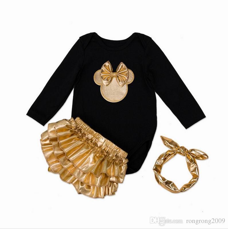 Einzelhandel Kleinkind Mädchen Kleidung Set Neugeborenes Baby Ohren Bodysuits Weihnachten Tragen Mode Outfits Kleinkinder Kleidung E7670