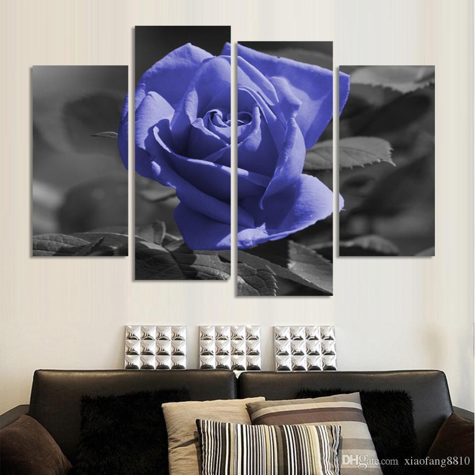 Moderne Blume Malerei Rosenöl Set 4 Stück Große Leinwand Kunst Günstige Wandbilder Für Wohnzimmer Dekoration Kein Rahmen
