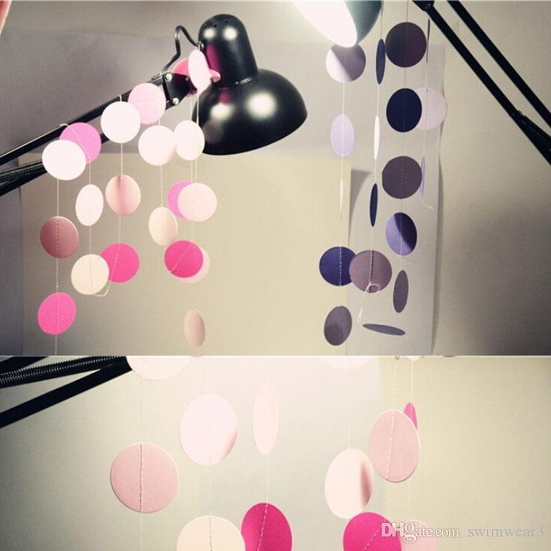 Discount 2m Colorful Round Paper Wedding Party Decoration Garland Handmade  Children Room Wall Hangings Props Decoration From China | Dhgate.Com