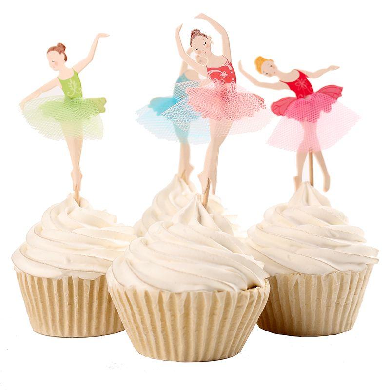 Grosshandel Anmutige Ballerina Cupcake Topper Tanzer Kuchen Topper