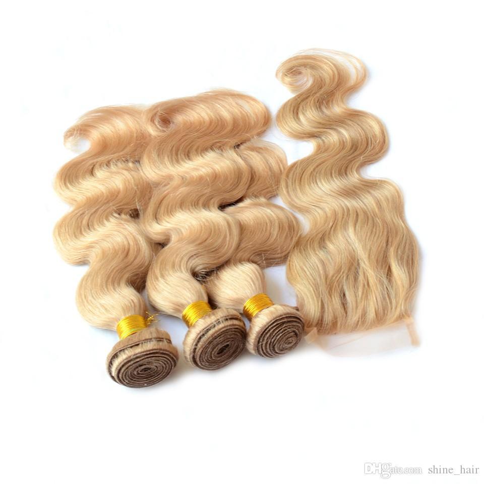 버진 브라질 허니 블론드 3Bundles 4x4 레이스 클로저 로트 # 27 Strawbery 금발 브라질 바디 웨이브 인간의 머리카락 폐쇄