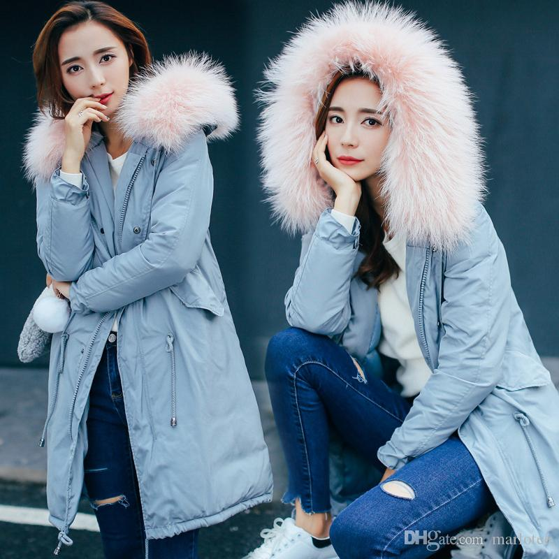 Winter Women Down Parka Big Raccoon Fur Collar PufferJacket Long Hood  Overcoat Draw String Thick Slim Warm Black Light Blue Army Green UK 2019  From Marlotee ... 219a1540d